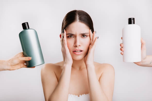 portrait green eyed woman without makeup isolated wall girl decides which shampoo is better use 197531 13864