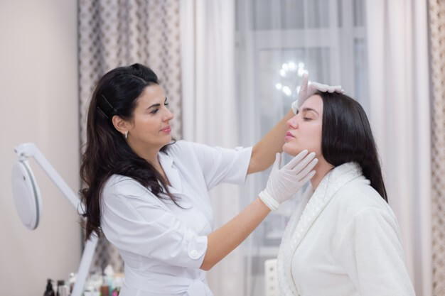 client beautician s appointment consultation face shaping preparation upcoming procedures visual examination problem areas 343596 4176