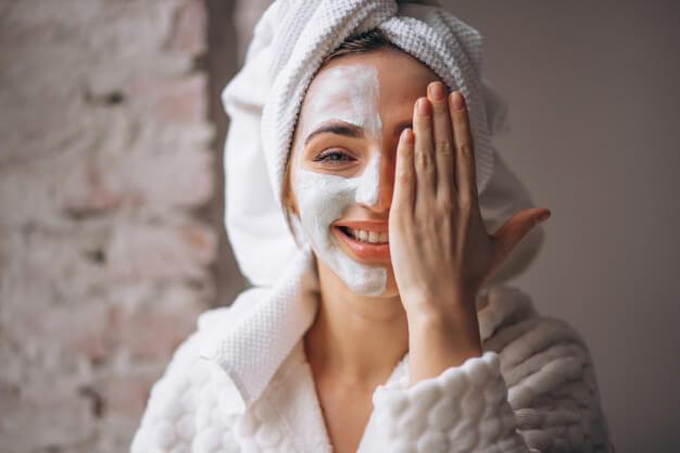 portrait woman with facial mask half face 1303 14317
